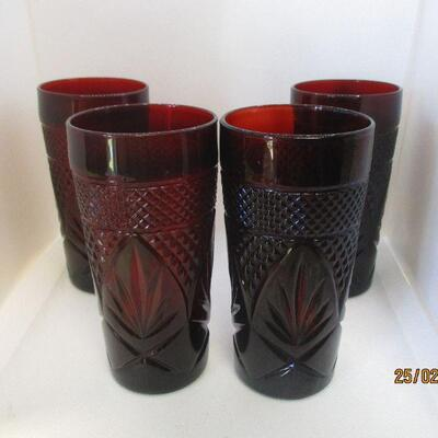 Lot 1 - Set of 4 Ruby Glass Coolers