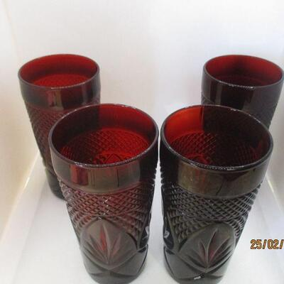 Lot 3 - Set of 4 Ruby Glass Coolers