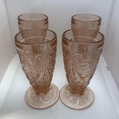 Lot 5 - Set of 4 Pink Tiara Sandwich Iced Tea Glasses