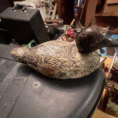 Carved wood duck decoy