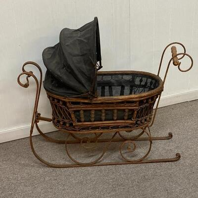 Wicker Doll Carriage Sled