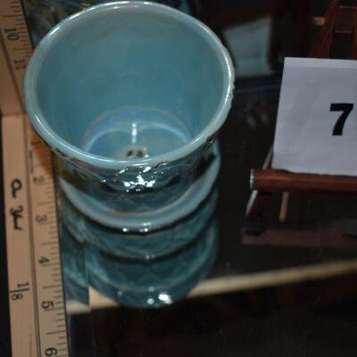 1950 McCoy Quilted Pot & Saucer - Light Blue