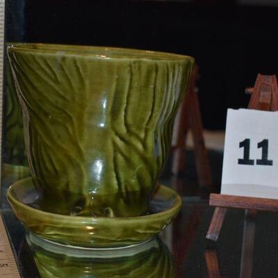 McCoy Brush Green Pot & Saucer