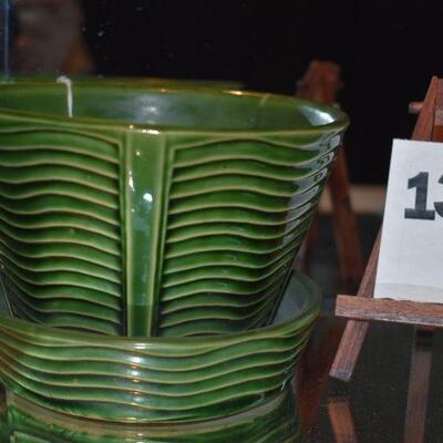 1940 McCoy Dark Green Pot & Saucer