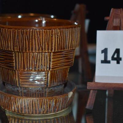 1953 McCoy Basket Weave Pot & Saucer