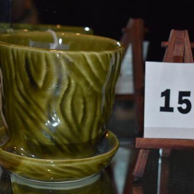 McCoy Brush Pot & Saucer - Dark Green