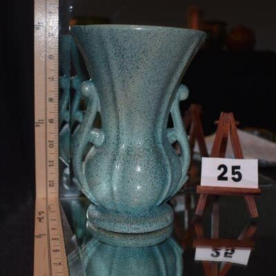 McCoy 2-Handled Green Speckled Vase