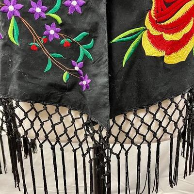 Colorful Flower Embroidered Black Fringed Shawl Coat Jacket Size XL