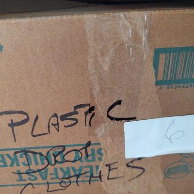 lot 6 - Box of 20+ plastic drop clothes
