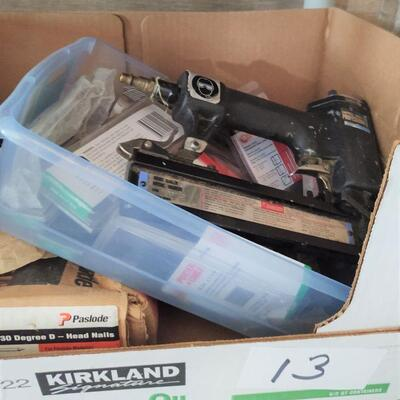lot 13 - Campbell Hausfeld professional brad nailer, Prostrip nails, assorted other nails, etc.