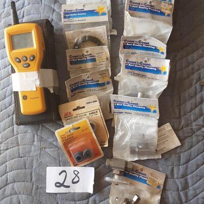 lot 28 - GE Protimeter and Assorted plumbing parts, valves, etc in original packaging