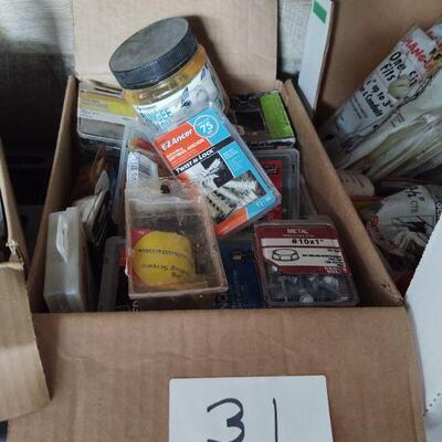 Nails, wedge anchors, cotter pins, drywall anchors, variety of screws, etc. as shown