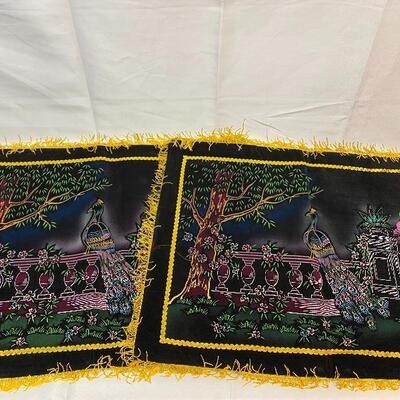 Pair of Vintage Painted Black Velvet Pillow Case Covers