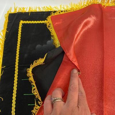 Pair of Vintage Square Black Velvet Fringed Pillow Case Covers