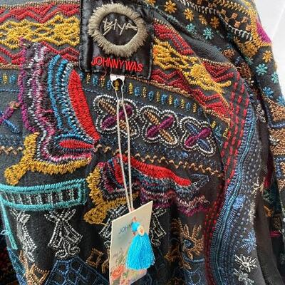 Johnny Was BIYA Black Butterfly Embroidered Fringed Hooded Duster Jacket Coat w/ Tags