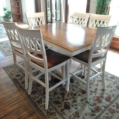 LOT 1  COUNTER HEIGHT FARM LIKE TABLE WITH 6 CHAIRS