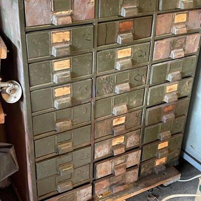 Vintage 27 draw parts bin