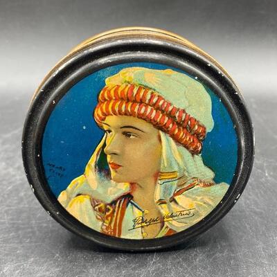 Vintage Round Rudolph Valentino The Son of the Sheik Tin