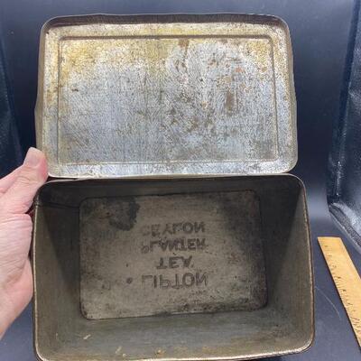 Vintage Antique Lipton Tea Hinged Lid Tin Harvest Scenes