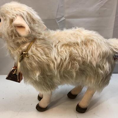 White & Beige Hansa Creations Wooly Sheep Plush Stuffed Animal