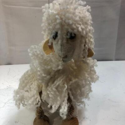 White Fuzzy Wooly Sheep Lamb Marionette String Puppet
