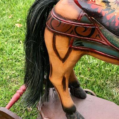 BEAUTIFUL VINTAGE LARGE WOODEN PLATFORM ROCKING HORSE WITH WHEELS