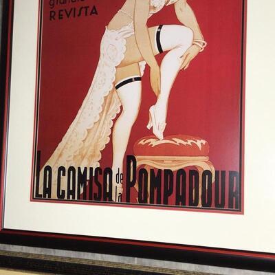 102 - Framed Vintage Poster - Teatre Comic Barcelon La Camisa De La Pomadour