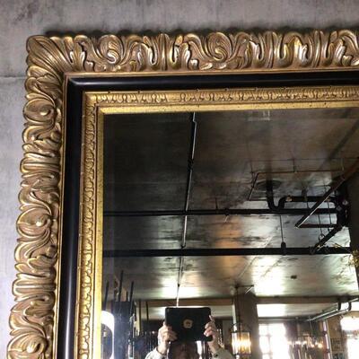 104 - Enormous Gold Ornate Framed Beveled Mirror - Mover Needed