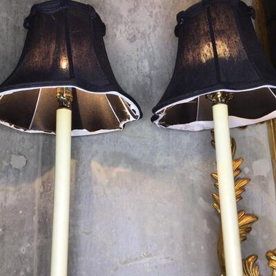 108 - Pair of Brass Candlestick Table Lamps by Automax