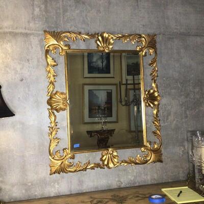 110 - Beautiful Gold Gilt Beveled Mirror