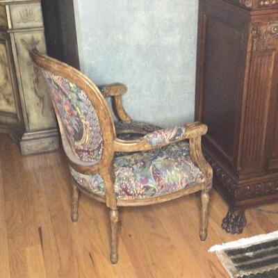 134 - Louis XVI Style Medallion Lounge Chair #1