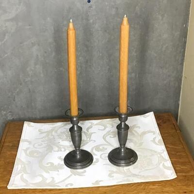 141 - Pair of Garden Pewter Candle Sticks