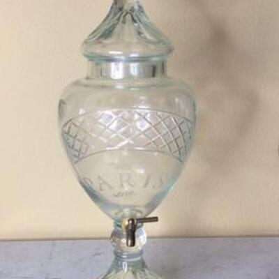 261 - Vintage Paris Brilliant Cut Glass Beverage Dispenser