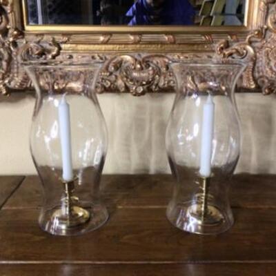 282 - Pair of Hurricane Lamps w/ Baldwin Brass Candlesticks