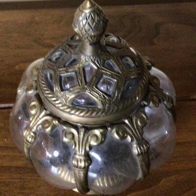 285 - Vintage Glass Jar w/ Brass Trim