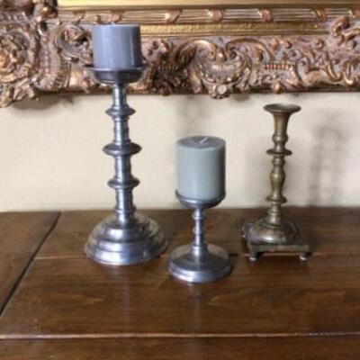 287 - (3) Candlesticks - 2 Pewter & 1 Brass