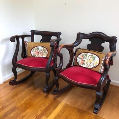Lot 1 - Pair of Rocking Chairs With Pillows
