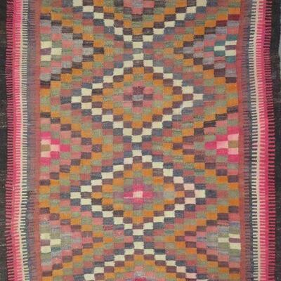 Persian Seneh, Vintage Kilim with Natural Wool and Cotton 6'0