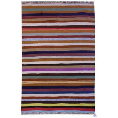 PERSIAN VINTAGE KILIM MADE WITH NATURAL WOOL AND COTTON 140x92cm Retail $1246.5