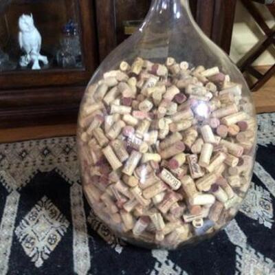295 - Large 2 Ft. Tall Glass Bottle Full of Corks