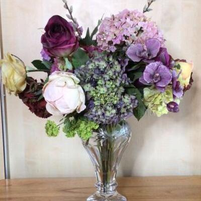 351 - Beautiful Floral Arrangement in Gorham Cut Crystal Vase
