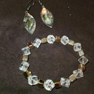 Abalone Earrings and Bracelet