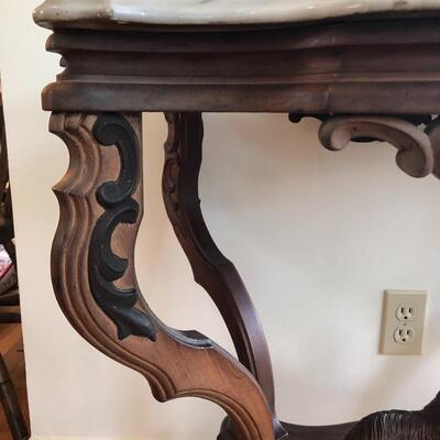 Lot 3 - Wood & Marble Side Table