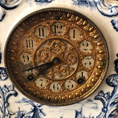 Lot 7 - Porcelain Mantle Clock, Delfts Vase & More