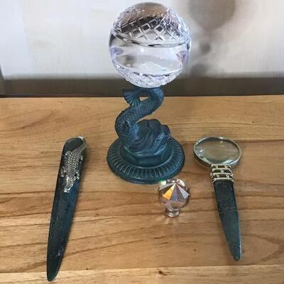 K137 - Lead Crystal Ball w/ Koi Fish Stand & Letter Opener Set
