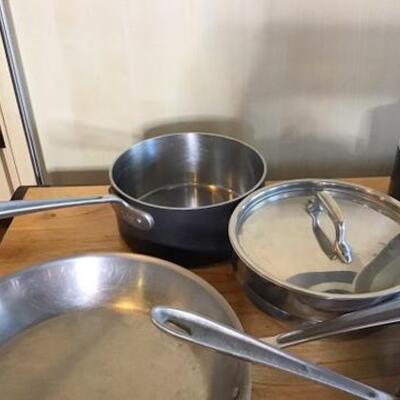 K143 - 10 Pc Lot - All Clad Pots & Pans + Revere Saucer Pot
