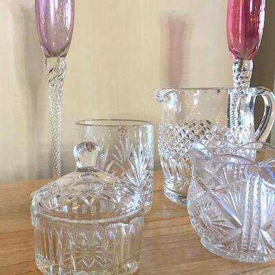 K14 - 6 Pc Lot of Glassware - Waterford Pitcher & More