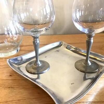 K152 - Mikasa Aluminum Dish, Princess House Pitcher & 2 Wine Glasses