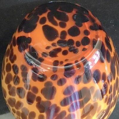 K168 - Leopard Print Art Glass Vase 11.5