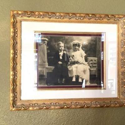 K172 - Gold Framed 1920 Photo of Children In Wedding/Formal Attire
